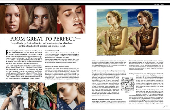 Interview with retoucher Lesya Kostiv for AFI magazine
